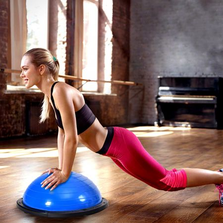 Costway Balance Trainer Ballon d'Equilibre avec Cordes Elastiques&Base Antidérapante pour Fitness Entraînement Bleu