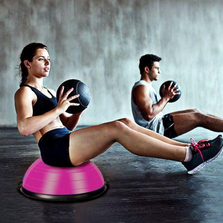 Costway Balance Trainer Ballon d'Equilibre avec Cordes Elastiques&Base Antidérapante pour Fitness Entraînement Rose