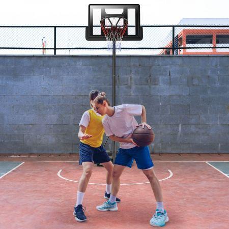Costway Panier de Basket-Ball sur Pied 97x65x360cm Hauteur Réglable 3,05M à Roulettes Rempli Eau/Sable Filet en Nylon Jeune/Adulte