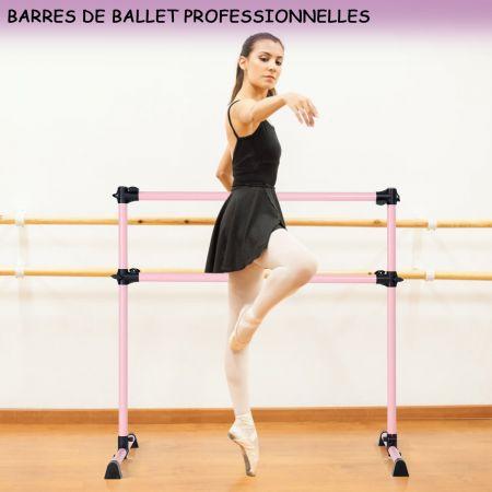 Costway Barre de Danse Classique Ballet Barre de Danse Double Mobile Hauteur Réglable 123x120x70cm Rose