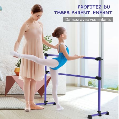 Costway Barre de Danse Classique Ballet Barre de Danse Double Mobile Hauteur Réglable 123x120x70cm Violet