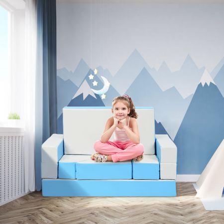 Costway Canapé pour Enfants 4 en 1 Puzzle et Table de Jeux Transformable en EPE et PU Imperméable
