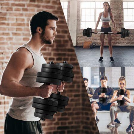 Costway Kit Haltères Musculation 2 en 1 avec Disques Poids Ajustable 30KG Poignée Confortable pour Fitness Musculation Formation