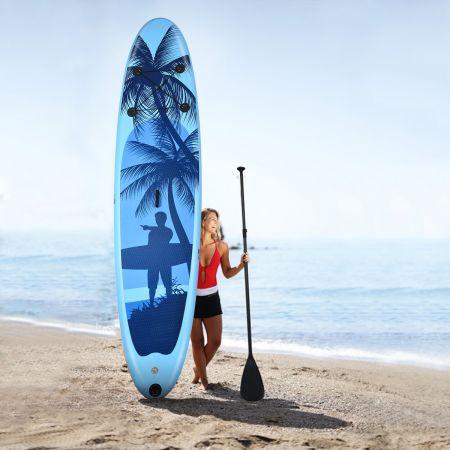 Costway Stand Up Paddle Gonflable en PVC avec Sac de Transport Pagaie Réglable Bleu Clair 335x76x15CM