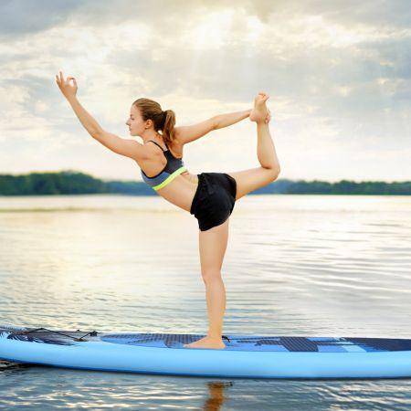 Costway Stand Up Paddle Gonflable en PVC avec Sac de Transport Pagaie Réglable Bleu Clair 305x76x15CM