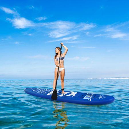 Costway Stand up Paddle Gonflable Sup en PVC avec Sac de Transport Pagaie Réglable Aileron Inférieur Pompe à Main Leash 335x76x15CM Bleu Foncé