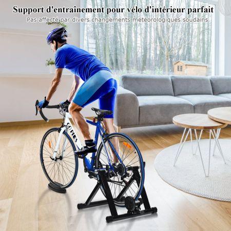 Costway Entraîneur de Vélo pour Roue 26-28'' en Acier Charger Max 100KG en Aicer de Haute Qualité à l'Intérieur Noir