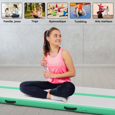 Costway Tapis de Gymnastique Gonflable 3x1M Air Track avec Pompe Electrique Kit de Réparation en PVC Vert