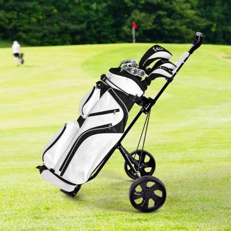 Costway Chariot de Golf à 2 Roues Pliable avec Emplacements pour 4 Tees, 4 Balls et Tableau de Score Facile à Ranger et Transporter