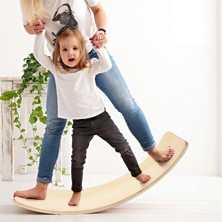Costway Planche à Bascule en Bois Incurvée avec Feutre Charge 220KG pour Adultes et Enfants 90 x 30 x 19CM