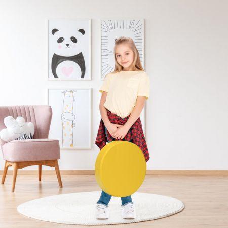 Costway Lot de 6 Coussins de Chaise pour Enfant avec Poignées Coussins D'assise Rond φ38 x 8CM Multicolores