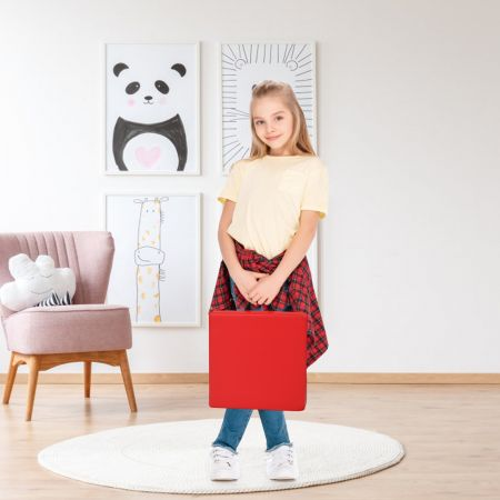 Costway Lot de 6 Coussins de Chaise pour Enfant avec Poignées Coussins D'assise Carrés 38 x 38CM Multicolores