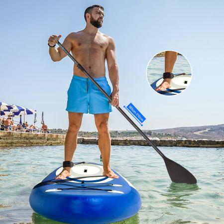Costway Stand Up Paddle Board Gonflable 305x80x15cm en PVC Accessoires Pagaie Réglable 160-210 cm Sac à Dos Leash Pompe Charge 120kg