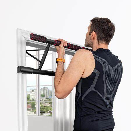 Costway Barre de Traction Mural Barre de Fitness Pliable pour Pull Up Fixation Sans Vis Jusqu'à 200KG 100,5 x 27,5 x 36 cm