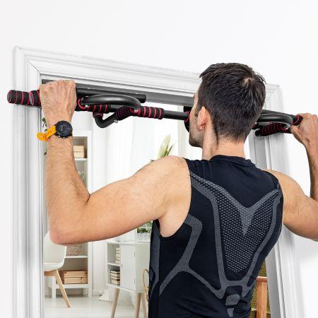 Costway Barre de Traction Mural Barre de Fitness pour Exercices Pull Up Fixation Sans Vis Jusqu'à 136KG 105 x 43 x 22,5 cm
