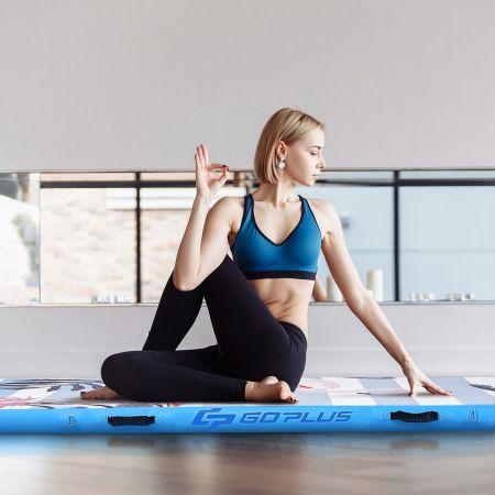 Costway Tapis de Gymnastique Gonflable Étanche 300x100CM Tapis d'Entraînement Piste d'Air Gonflable avec Pomp Électrique pour Yoga Bleu
