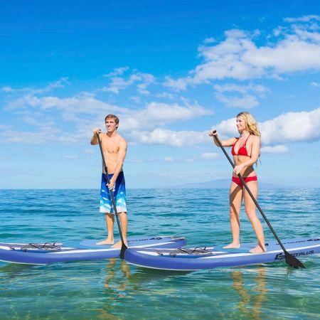 Costway Paddle Gonflable 335x76x15CM en PVC avec Pagaie Alliage Aluminium Réglable Aileron Amovible Pompe Manuel 120KG MAX Bleu+Blanc