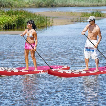 Costway Paddle Gonflable 320x76x15CM en PVC avec Pagaie Alliage Aluminium Réglable Aileron Amovible Pompe Manuel 120KG MAX Rosé