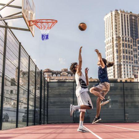 Costway Panier de Basket-ball avec Filet de Rechange 46CM en PE Durable Montage Mural/sur Porte 4 Vis Expansion Intérieur/Extérieur