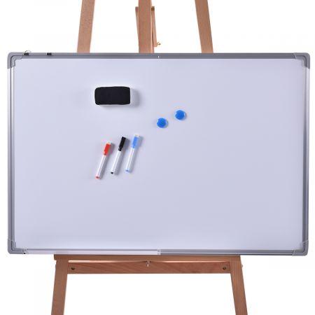 Costway Tableau Blanc Effaçable Surface Magnétique avec Cadre en Aluminium,2 Aimants, 3 Stylos et Effaçable à Sec 90*60CM, 70*50CM, 60*40CM, 50*35CM