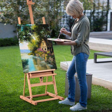 Costway Chevalet d'Artiste en Bois de Hêtre en H avec Hauteur et Inclinaison Réglables Idéal pour Peinture Croquis Exposition