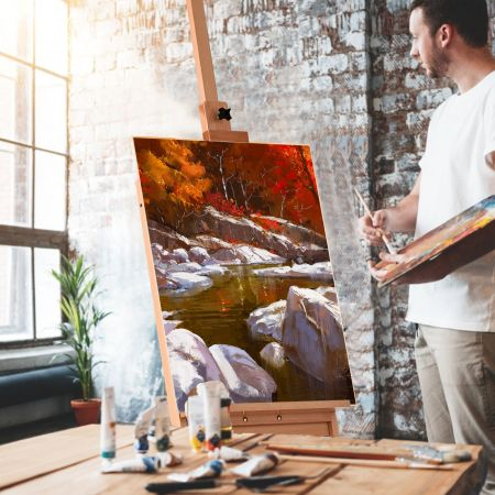 Costway Chevalet de Studio sur Pied avec Tiroir Fait en Hêtre Porte-Toile Réglable Supporte une toile jusqu'à 92 CM 43x44x151-194,5 CM