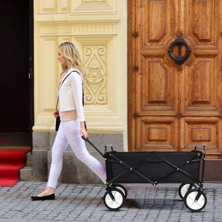 Costway Chariot Remorque de Jardin Pliable pour Transport avec 4 Roues Lisse d'Extérieur en Acier Noir
