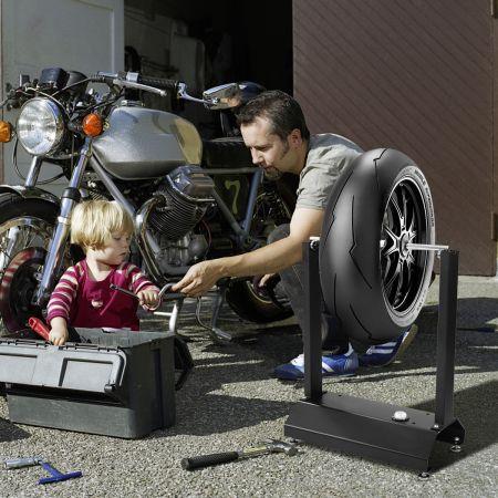 Costway Equilibreuse de Roue Moto Vélo en Aluminium et Acier avec Les Cônes de Centrage Réglables de Bulle