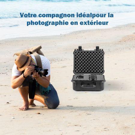 Costway Valise Etanche pour Appareil Photo+3 Inserts en Mousse - 1 pour DIY 34,5 x 15 x 29 CM avec Poignée Ergonomique Noir