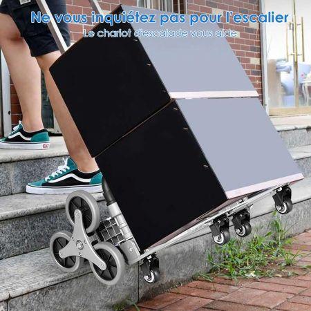 Costway Diable Pliable en Aluminium Chariot de Transport avec Bande Elastique Réglable en 3 Positions Poignée Télescopique Charge max. 80KG