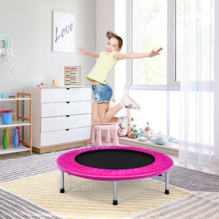 Costway Trampoline de Fitness Pliable Ø95,5CM pour Intérieur et Extérieur pour Adultes et Enfants Charge Max 150KG Rose