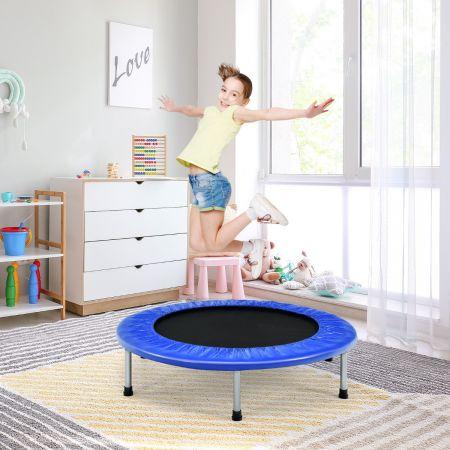 Costway Trampoline de Fitness Pliable Ø95,5CM pour Intérieur et Extérieur pour Adultes et Enfants Charge Max 150KG Bleu