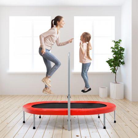 Costway Trampoline Pliable pour 2 Enfants Intérieur/Extérieur avec Main Courante Ajustable Coussin Tapis de Saut Charge 150kg Rouge