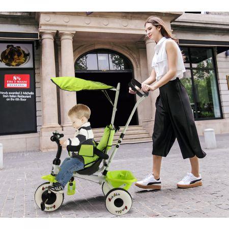 Costway Tricycle Enfant/Bébé Evolutif avec Auvent Pliable et Arceau de Sécurité Roues Silencieuses Vert/Rouge-Vert
