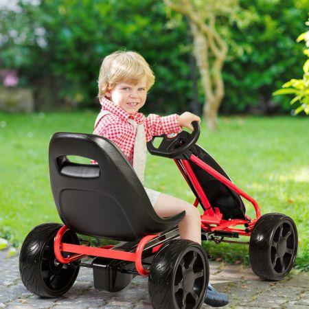 Costway Kart à Pédales Go-Kart avec Siège Réglable Ergonomique et Frein à Main en Acier pour Enfants de 3 à 8 ans Noir