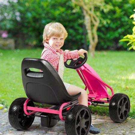 Costway Kart à Pédales Go-Kart avec Siège Réglable Ergonomique et Frein à Main en Acier pour Enfants de 3 à 8 ans Rose