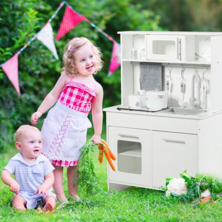 Costway Cuisine Enfant Cuisine Jouet pour Enfants en Bois avec Ustensiles Accessoires et Lumières et Sons Réels