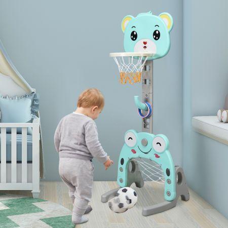 Costway Support de Basket Multifonctionnel avec Panier de Basket But de Football et Anneau à Lance Hauteur Ajustable