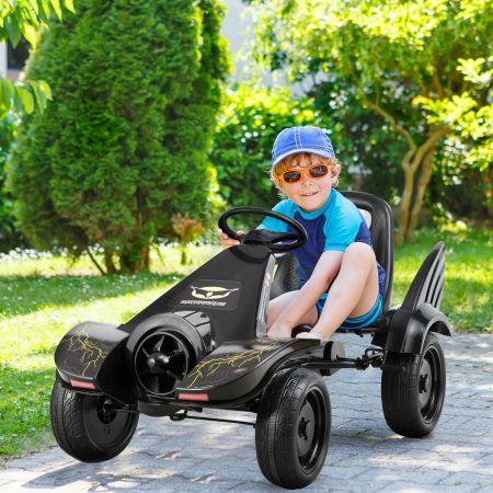 Costway Kart à Pédale pour Enfants Go-Kart avec Siège Ajustable Frein à Main pour 3-8 Ans