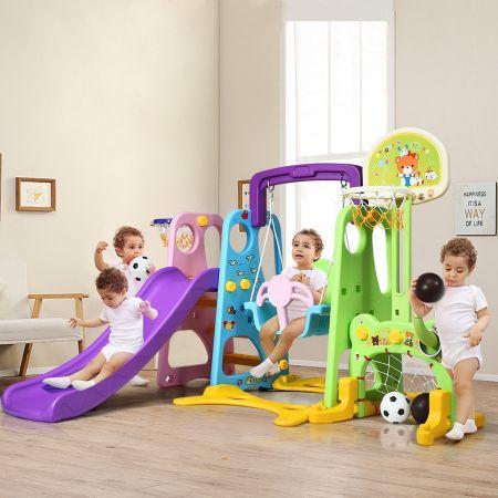 Costway Toboggan pour Enfants Aire de Jeux 6 en 1 Balançoire Portique Panier de Basketball Escalade But de Football