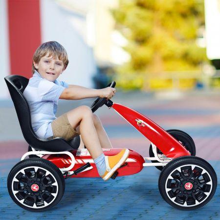 Costway Kart à Pédalesd'Extérieur pour Enfants avec Siège Réglable avec Pneus Diamètre de 30cm Rouge
