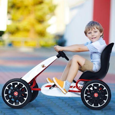 Costway Kart à Pédalesd'Extérieur pour Enfants avec Siège Réglable avec Pneus Diamètre de 30cm Blanc