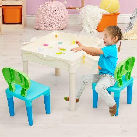 Costway Table Multi-Activités 6-en-1 avec 300 Blocs de Construction 2 Boîtes de Rangement pour Enfants 6 Ans