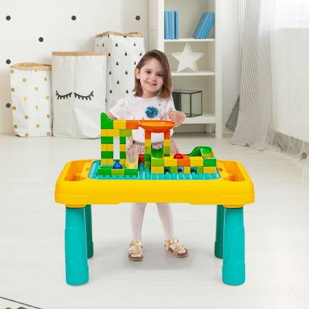 Costway Table d'Activités 2 en 1 avec Fonction de Dessin 67 Pièces Blocs de Construction pour Enfants de 3 Ans +