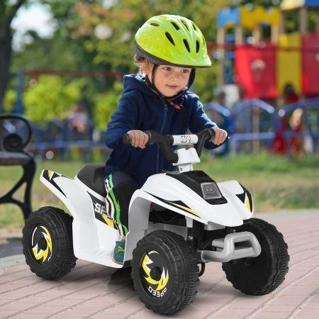 Costway Quad Buggy Electrique pour Enfant 6 V 4,5 Km-H MAX Voiture pour Enfants de 3 Ans+ Blanc