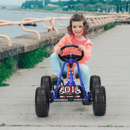 Costway Kart à Pédales Vélo et Véhicule pour Enfants Siège Réglable avec Frein à Main 3-6Ans Bleu
