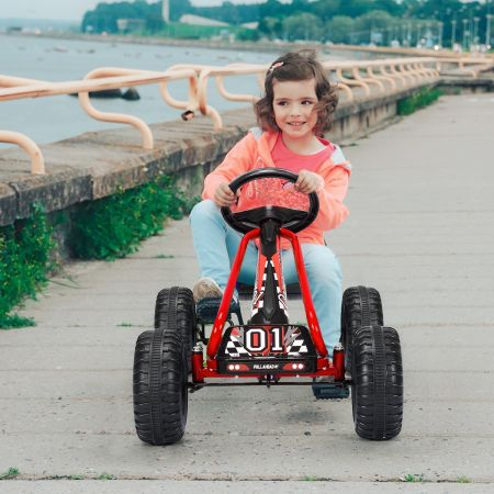 Costway Kart à Pédales Vélo et Véhicule pour Enfants Siège Réglable avec Frein à Main 3-6Ans Rouge