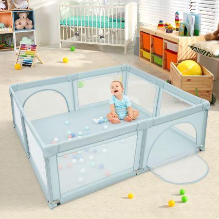 Costway Parc de Jeu pour Bébé Géant avec 50 x balles Porte à Zip Pieds avec Ventouses 206 x 185,5 x 68 CM Bleu