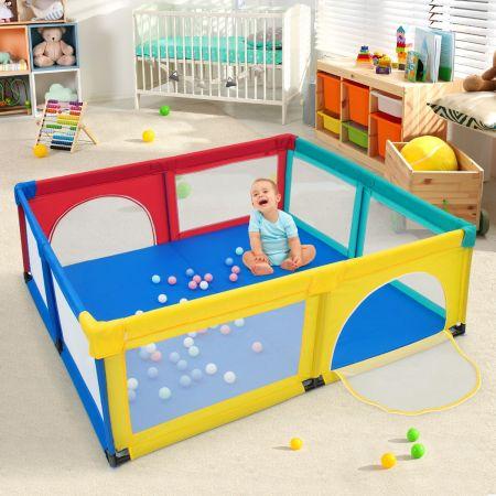 Costway Parc de Jeu pour Bébé Géant avec 50 x balles Porte à Zip Pieds avec Ventouses 206 x 185,5 x 68 CM Multicolor