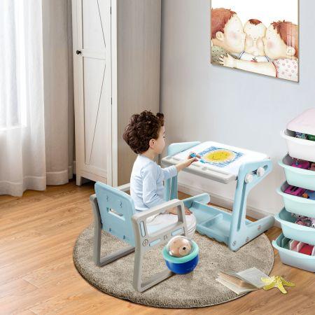 Costway Table et Chaise à Dessin pour Enfant Inclinable avec Tableau Magnétique Réglable Inclus Grand Espace de Stockage